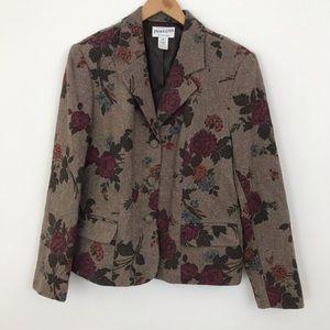 Pendleton Sz 12 Floral Blazer Suit Jacket Wool